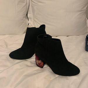 Express Black Sequin Heel Booty